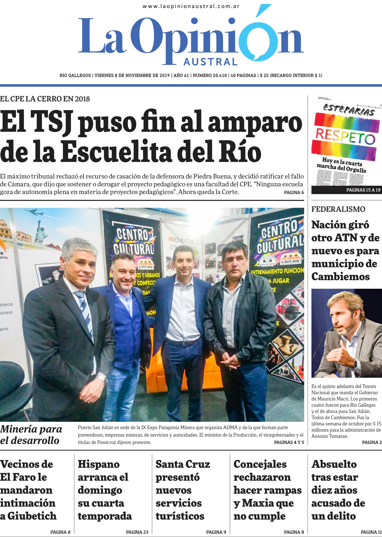 Diario La Opinión Austral edición impresa del 8 de Noviembre del 2019, Santa Cruz Argentina