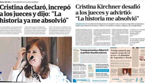 """""""La historia me absolvió"""": la declaración de Cristina Kirchner en el juicio copó las tapas de los diarios argentinos"""
